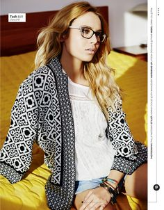 Pair a funky bold patterned jacket with monochrome specs for a casual look with a touch of glamour.