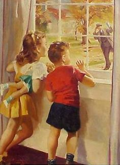 """Daddy's Home"" - Illustration by Lawrence Wilbur Vintage Children's Books, Vintage Cards, Vintage Postcards, Vintage Pictures, Vintage Images, Illustrations Vintage, Nostalgia, Photo Vintage, Jolie Photo"