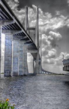 Cable Bridge from Brunswick to Jekyll Island, Georgia