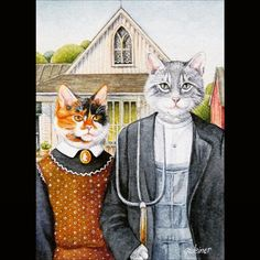 American Gothic Parody, Princess Zelda, Cats, Animals, Fictional Characters, Gatos, Animales, Kitty Cats, Animaux