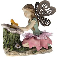 Outdoor Solar Fairy Resin Garden Statue  From The Yard Angels Decor And Pixie Statues -- Learn more by visiting the image link.