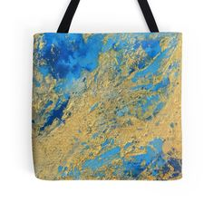 'Gold and Blue Abstract ' Tote Bag by JuliaFineArt Framed Prints, Canvas Prints, Art Prints, Blue Abstract, Floor Pillows, Art Boards, Chiffon Tops, Duvet Covers, Reusable Tote Bags