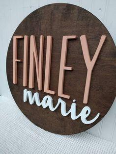 - 18 Round Custom Name Wood Sign Baby Name Sign Nursery Name, Nursery Signs, Nursery Room Decor, Girl Nursery, Nursery Wood Sign, Nursery Letters, Wood Name Sign, Wood Names, Wood Signs