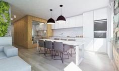 Trojizbový byt s umením na stene, Bratislava Bratislava, Kitchen, Table, Furniture, Design, Home Decor, Room Interior, Cooking, Decoration Home