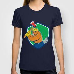 Beaver Lumberjack Wielding Ax Shield Cartoon T-shirt