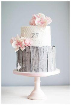 Rustic 25th anniversary wedding cake - cake by Taartjes van An (Anneke)