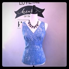 Super Cute Spring/Summer Top Sleeveless Blue & White floral top.   Brand:   Ann Taylor Loft   Size: 8   In excellent condition. Side zip.   98% cotton/ 2% spandex   Laying flat it is about 24 inches from top to bottom. Ann Taylor Tops