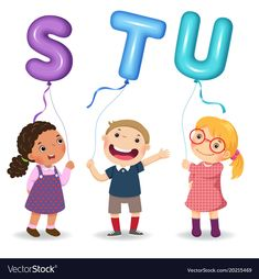 Illustration about Vector illustration of cartoon kids holding letter STU shaped balloons. Illustration of happy, cartoon, elements - 108090579 Cartoon Letters, Funny Letters, Learning Numbers Preschool, Teaching Kids, Teacher Binder Covers, Abc School, Abc Activities, Numbers For Kids, Cute Cartoon Pictures