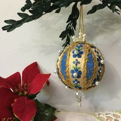 Vintage Handmade Blue & Gold Bead Sequin Push Pin Christmas Ornament #Christmas