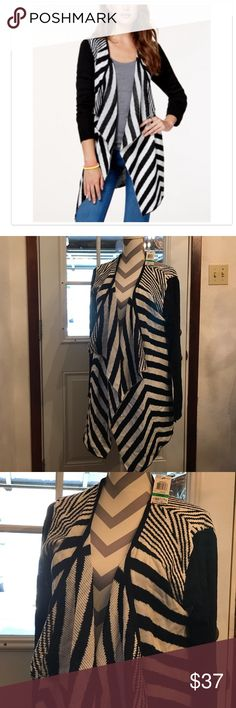 💃🏾Just In💃🏾 Waterfall-Front Sweater-586 Striped Waterfall-Front Cardigan Sweater in Juniors Large. Purchase by 4:00 pm Central Time for same day shipping. Material Girl Sweaters Cardigans