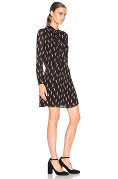 Saint Laurent Lipstick Print Bow Dress $1500