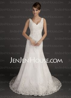 A-Line/Princess V-neck Court Train Satin Tulle Wedding Dresses With Lace Beadwork (002015557)--Yes!