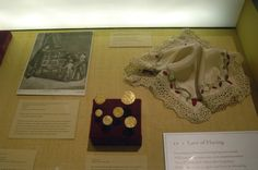 "Desdemona's handkerchief with embroidered strawberries. From ""Very Like a Whale"" exhibit, inspired by Thomas Trevelyon pattern. Made by Erin Harvey Moody. Permanent Collection, Folger Shakespeare Library"