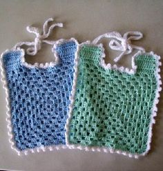 2 Crochet Baby Bibs, Blue and Green
