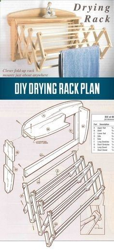 Plans of Woodworking Diy Projects - DIY How To Build a Drying Rack - A wall mounted drying Rack in 10 Easy Steps - great for shop towels too. Get A Lifetime Of Project Ideas & Inspiration!