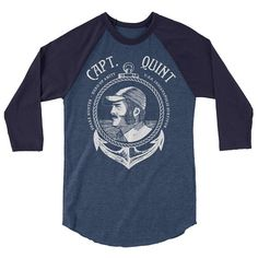 Inspired by Jaws Exclusive Hero of Amity Quint T-shirt - with exclusive hand illustrated Quint etched design. A stylish spin on the classic baseball raglan. The combed cotton blend makes it super soft, comfortable, and lightweight. Jaws 3, Uss Indianapolis, Movie Gift, Raglan Shirts, Hero, Inspired, Awesome, Sleeve, Music