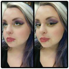 Bold purple and yellow-green cat eye