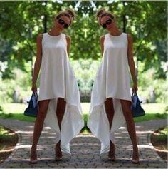 New Fashion Women Sexy Sleeveless White Black Asymetrical Hem Loose Chiffon Beach Summer Long Dress Casual