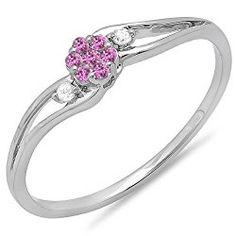 18K White Gold Round White Diamond & Pink Sapphire Ladies Bridal Swirl Split Shank Cluster Promise Ring