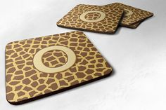 Set of 4 Monogram - Giraffe Foam Coasters Initial Letter O