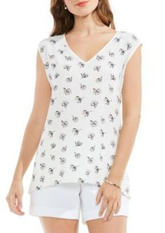 Vince Camuto Women's Fluent Flowers Mix Media V-Neck Top - New Ivory - Xs