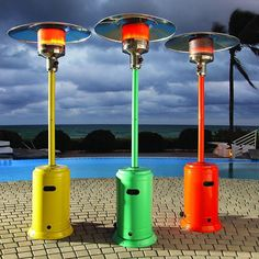 Brookstone's Powder Coated Finish Patio Heater adds a pop of spring color to your party—and cozy hea. - Photo: Courtesy of Brookstone Outdoor Heaters Patio, Best Patio Heaters, Outdoor Heating Ideas, Outdoor Seating, Outdoor Ideas, Diy Pergola, Pergola Kits, Pergola Ideas, Pergola Shade