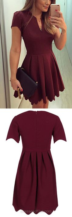 Short Prom Dress, Short Sleeve Prom Dresses, Satin Homecoming Dress, Burgundy Homecoming Dresses, Scoop Neck Cocktail Dress