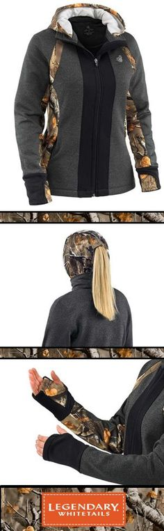 This extremely versatile full-zip hoodie includes loads of features. Made from a medium weight poly/spandex stretch jersey with moisture management and a heather texture combined with just the right amount of Big Game® Camo accents. The form fitting hood includes a ponytail opening and built-in neck gaiter/face mask for ultimate warmth. Final touches are hidden zipper side pockets, extended thumb-hole cuffs, and reflective decoration.