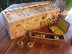 "Caja de vino ""Shabby voyage"" | Aprender manualidades es facilisimo.com"