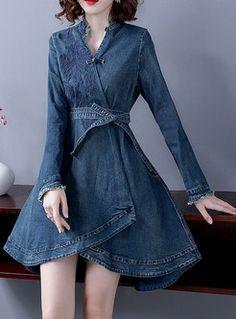 Vintage Dresses Vintage V-neck Long Sleeve Asymmetric A Line Dress - Shop Vintage V-neck Long Sleeve Asymmetric A Line Dress at EZPOPSY. Jean Dress Outfits, Denim Outfits, Jeans Dress, Cool Outfits, Fashion Mode, Fashion Wear, Denim Fashion, Fashion Outfits, Stylish Dress Designs