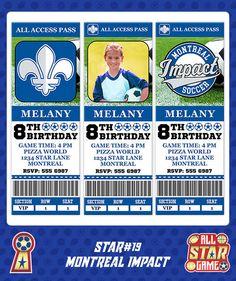 Montreal Impact Invitation, Birthday Invitation, Soccer Invitation, Montreal Impact Invite, Montreal Impact, Sports Invitations star#19