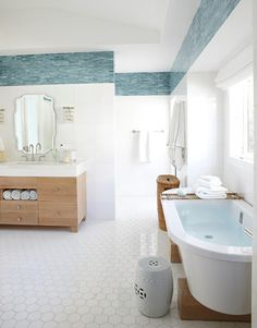 turquoise blue tile bathroom - Heidi Bonesteel and Michele Trout designers