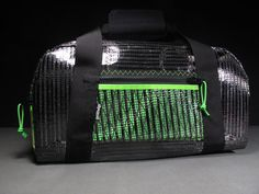 Rad & Rugged Carbon Fiber Medium Size Gear Bag: The Armadillo - Carbon Fiber Black and Neon Green - 22L