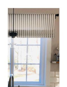 Faux Roman Shade Valance in Navy Blue, Black or Grey & White Ticking Stripe, Custom Made Modern Farmhouse Kitchen Valance, Fully Lin Modern Roman Shades, Faux Roman Shades, Black Room Design, Farmhouse Window Treatments, White Trellis, Kitchen Valances, Striped Curtains, Farmhouse Windows, Drapery Rods
