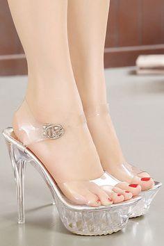 1b8544018884 Sandale femme argentée effet transparent à plateforme et talon aiguille