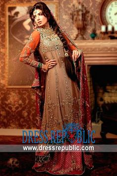 Sultry Beige Caldwell, Product code: DR8417, by www.dressrepublic.com - Keywords: Pakistani Bridal Dresses for Engagement, Latest 2013 Bridal Dresses Designers Online