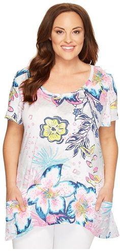 Extra Fresh by Fresh Produce - Plus Size Cabana Bright Twin Peaks Top  Women's Clothing