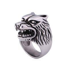 ราคาถูก ไม่แพง พร้อมส่งถึงบ้าน U7 Cool Wolf Punk Band Ring Stainless Steel Men Jewelry (Silver) (Intl) ส่งฟรี เก็บเงินปลายทาง