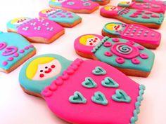 Postreadicción decorated cookies, cupcakes and pops: Cookies decorated: Matrioshkas
