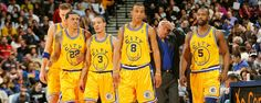 Golden State Warriors Flashback, 2006 (L to R): Andris Biedrins, Matt Barnes, Anthony Roberson, Monta Ellis, Baron Davis (Don Nelson suffering quietly in the background)