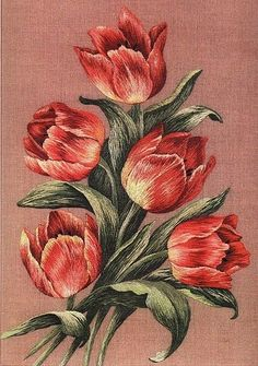 Awesome Most Popular Embroidery Patterns Ideas. Most Popular Embroidery Patterns Ideas. Embroidery Flowers Pattern, Embroidery Art, Embroidery Stitches, Hand Embroidery Videos, Embroidery Techniques, Thread Painting, Fabric Painting, Fabric Paint Designs, Tulip Painting