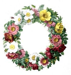 Free Vintage Clip Art - Rose Wreath - The Graphics Fairy