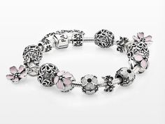 #PANDORAbracelet styled with cherry blossoms and petite floral designs