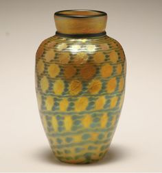 "Lundberg Studios ""Indian Basket"" iridescent art glass vase."