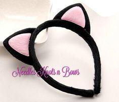 Black and Pink Plush Girls Cat Ears Headband, Girls Headband, Cat Ears, Black and Pink