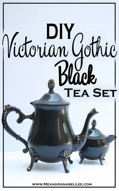 DIY Black & Gold Victorian Gothic Tea Set - Goth entertaining & Home Decor - www.