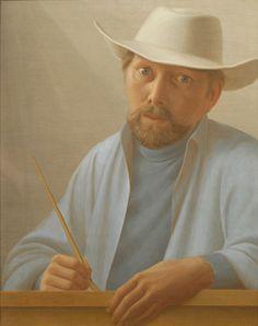 """Self-Portrait,"" George Tooker, 1969, egg tempera on gessoed panel, 24 x 19…"