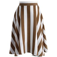 Chicwish Swaying Chic A-line Skirt in Brown Stripes ($38) ❤ liked on Polyvore featuring skirts, brown, brown knee length skirt, striped a line skirt, stripe skirt, a line skirt and elastic waist skirt