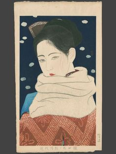 .:. Kobayakawa Hiroshi (1898-1948) painted this picture in 1930. It is part of the series: Twelve Aspects of Fine Women. Expression of Eyes (Hitomi), sometimes also called White Shawl.
