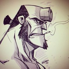 regram @dereklaufman Can't sleep? Draw hellboy! #hellboy #sketch #mangastudio
